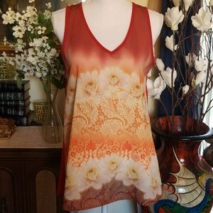 Bobeau Orange Floral Sleeveless Top, Size M